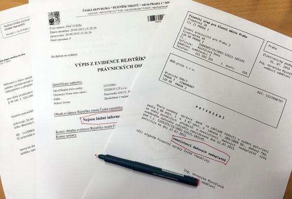Эти три справки, подтверждающие отсутствие задолженностей и доброе имя компании, может получить каждая фирма в Чехии