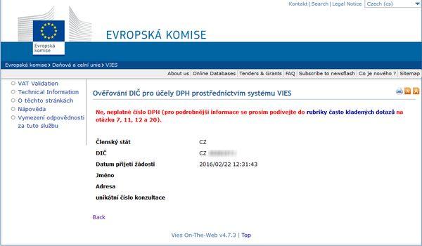 Фирма в Чехии, имеющая налоговый номер, но не являющаяся плательщиком НДС, не будет иметь записи в регистре VAT