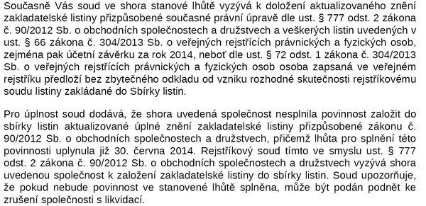 Суд даёт только 30 дней на исправление нарушений, после чего фирма в Чехии будет ликвидирована
